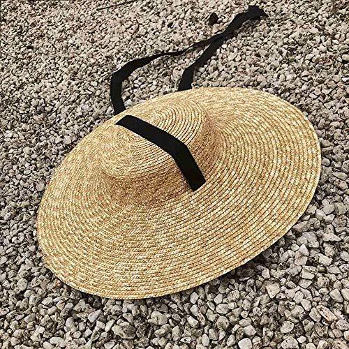 Sonnenhut Hut Frauen Raffia Wide Brim Boater Hut 15Cm 18Cm Krempe Strohhut Flache Frauen Sommer Mit Weiß Schwarz Band Krawatte Sonnenhut Strandkappe Xs F0088-1
