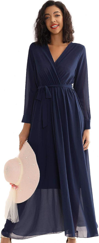 Double Chic Women's Casual Maxi Dress Deep V Neck Wrap Long Sleeve Swing Chiffon Dress