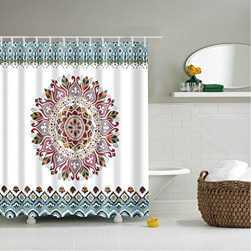 GWELL Anti-Schimmel Duschvorhang Blumen Digitaldruck inkl. 12 Duschvorhangringe für Badezimmer Art-D 180x180cm