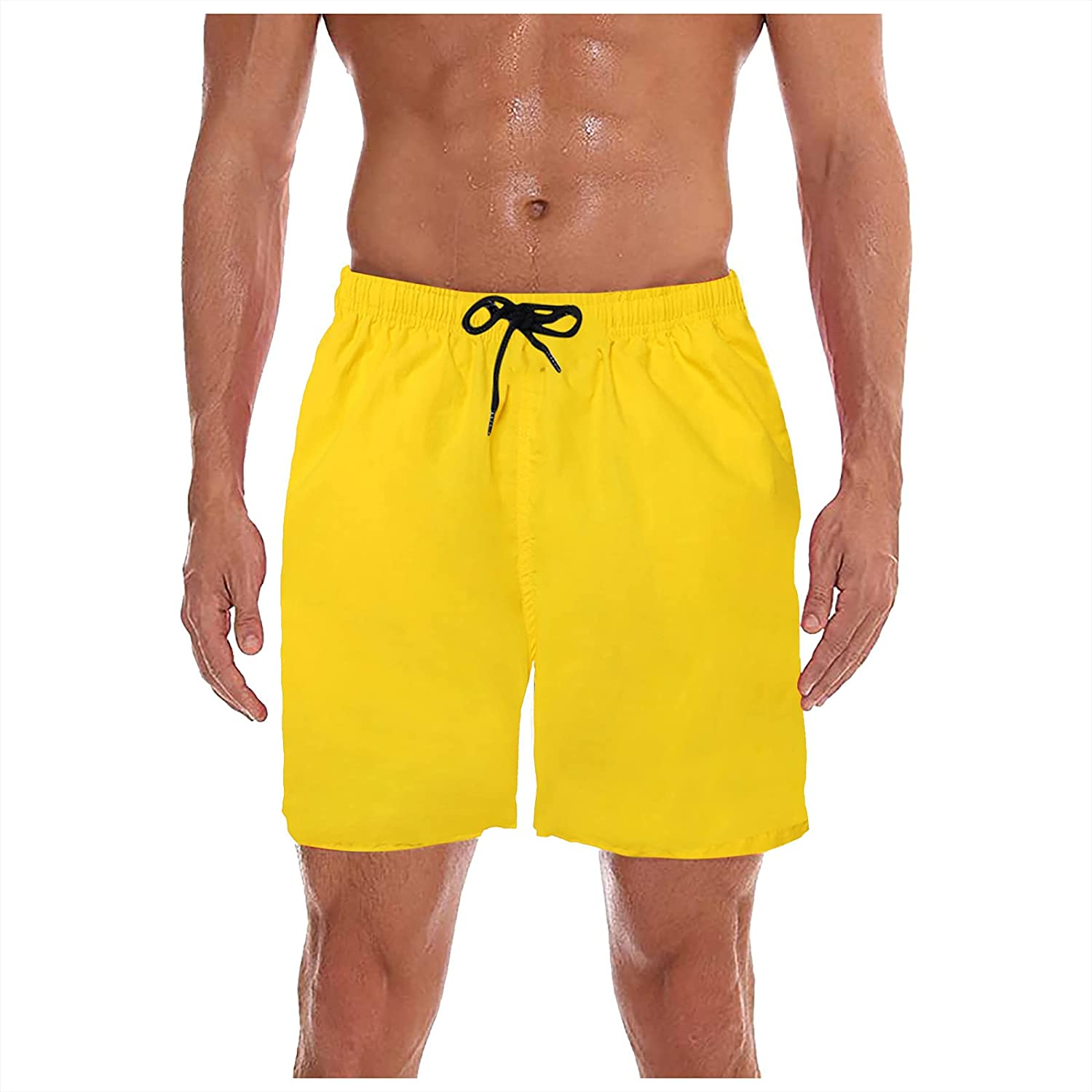 Maryia Mens Swim Shorts Summer Beach Casual Classic Loose Fit Solid Quick Dry Sports Athletic Trunks Plus Size Swimsuit