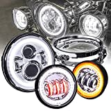 7' CREE LED Harley Head Light + 4.5' Passing Light + Mounting Bracket [Chrome-Finish] [HALO DRL] [Plug and Play] Head Light for Harley Davidson Road King Glide Street Electra Glide