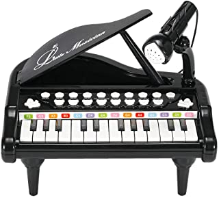 BAOLI 24 Keys Keyboard Kids Toy Piano with Microphone - Blac