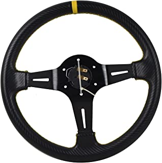 Universal Fitment 350MM PVC 6 Hole Steering Wheel Deep Dish Black Spoke Yellow Ring & Black Emblem by IKON MOTORSPORTS