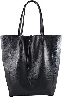 Freyday Damen Echtleder Shopper mit Innentasche in vielen Farben Schultertasche Henkeltasche Metallic look