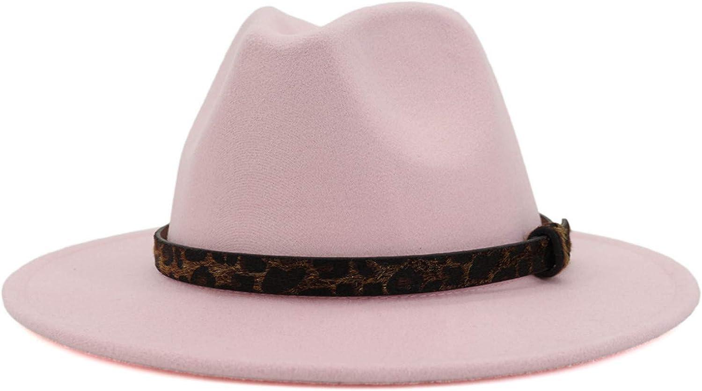 BAJIE Fedora Fashion Pink Big Brim Faux Wool Felt Fedora Hat Ladies Leather Jazz Hat Cowboy Party Hat With Ribbon