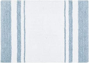 Madison Park Reversible Spa Rug 100%-Cotton Striped Ultra Soft Water Fast Bath Non-Slip Absorbent Quick Dry Mats for Tub, ...