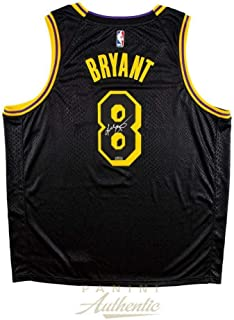 KOBE BRYANT Autographed Los Angeles Lakers City Edition Black #8 Jersey PANINI