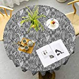 VICWOWONE Floral Elegant Round Table Cloth Lace Gothic Pattern with Flower Effect and Leaves Ornamental Antique Feminine Design Seamless Design Grey Black Diameter 47 Inch
