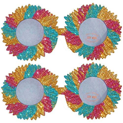 2 x glitzernde Blumen Brille Sommer Hippie Komplettbrille Unisex Kunststoff Blumenbrillen