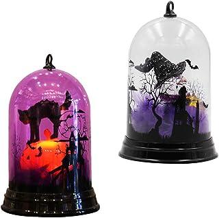 Uonlytech 2 piezas Halloween bruja forma gato luz nocturna a pilas cambia de color lámpara de mesa lámpara de noche (sin batería)