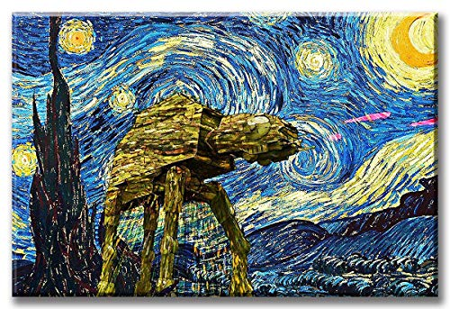 DJSYLIFE Van Gogh Starry Night Star Wars Canvas Painting and Print Wall Art for Livingroom Bedroom Movie Posters Stretched and Framed Ready to Hang