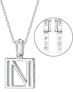 SISMIURRA For You Square Initial Pendant Necklace 18K White Gold Plated Cubic Zirconia A-Z Letter Charm Necklace Minimalis...