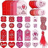 200 Etiquetas de San Valentín de 20 Estilos Etiquetas Artesanales de Papel de Corazón Etiquetas Colgantes de San Valentín con Cinta de Organza y Cordel de Algodón para Saludos de Boda