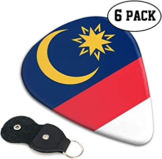 RZM YLY Malaysia Flag Guitar Picks 6 Pack- Universal Plastic Celluloid Guitar Picks Holder Unique Guitar Gift