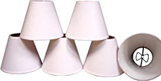 Creative Hobbies White Linen Fabric Candle Lamp & Chandelier Shades 4-Inch High x 5-Inch Diameter -Clip on Teardrop Bulbs (Pack of 6)