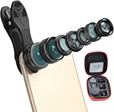 Phone Camera Lens Kit, iPhone Camera Lens - 7 in 1 Clip on Lens, Zoom Telephoto Lens, Fisheye, Wide Angle Lens, Macro Lens, CPL, Kaleidoscope for Most Smartphones
