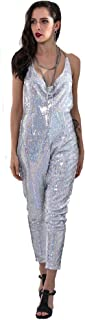 Miss ord Missord Women's Metal Strap Sequin Sparkly Sleevless Party Jumpsuit