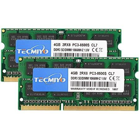 テクミヨ ノートPC用メモリ1.5V 8GB DDR3 PC3-8500 1066Mhz 4GB×2枚 204Pin CL7 Non-ECC SO-DIMM Mac 対応 永久保証