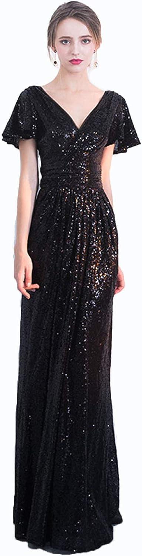 Elegant Women's Slim Evening Dress Fashion Long Mermaid Sequins Host Ladies Girls Formal Party Ball Gown Prom Dresses