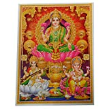 Bild Lakshmi Ganesha Sarasvati Lotus 30 x 40 cm Diwali