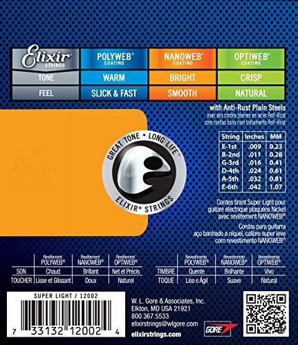 Cuerdas para guitarra eléctrica Elixir Strings con recubrimiento NANOWEB, calibre superligero (.009-.042)