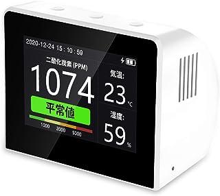 二酸化炭素 検出器 Elikliv 高精度二酸化炭素 濃度計 co2 モニター 測定器 CO2/温度/湿度 3-in-1空気質測定器 3.5インチカラースクリーン USB充電 屋内 屋外 オフィス 車用