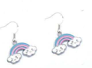 Ohrringe lang gespannte Binnfäden im Regenbogen  Style Tropfenform XXL