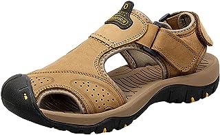 Hombres Sandalias Ajustable Hebilla Cuero Zapatos Sandalias de Playa 37-44