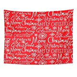 ShiHaiYunBai Tapices Decorativos Tapestry Wall Hanging Red Pattern Christmas Words Merry Xmas Tradition 60' x 80' Home Decor Art Tapestries for Bedroom Living Room Dorm Apartment