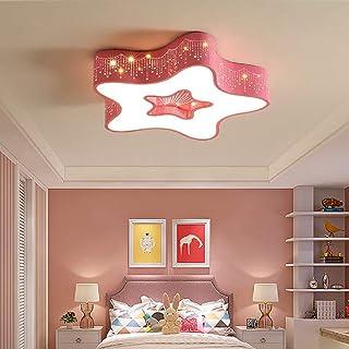 Lámpara de techo LED en forma de estrella para dormitorio diseño especial y creativo lámpara de techo niño niña (Luz blanca, Borede rosa 48cm)