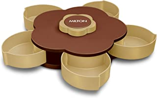 Milton Petals Multipurpose Gift Box, Brown - Dry Fruit Storage Box with Smart Rotating Multi Purpose Tray Spice, Masala, C...