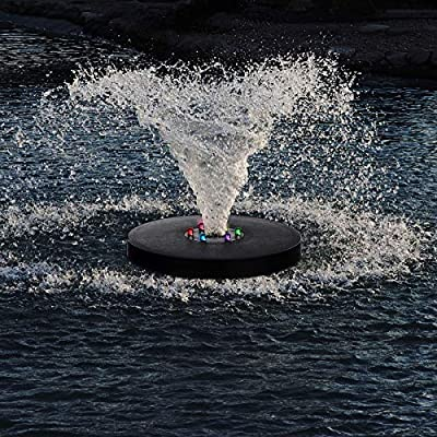 Solar Fountain Pump, Solar Bird Bath Fountain with LED Lights, Free Standing Floating Solar for Garden, Patio, Pond, Pool, Outdoor, Mini Powered Fountain Pump with 8 Nozzle
