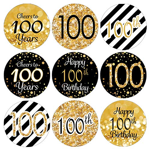 DISTINCTIVS 100th Birthday Party Favor Stickers - Gold and Black, 324 Stickers