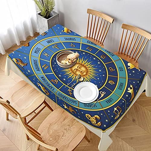 Mantel Rectangular,Rueda de Signos astrológicos Nombres Fechas Luna Sol en Medio Lavable Resistente a Las Arrugas Manteles,para Bodas Fiesta Navidad Cubierta de Mesa de Buffet 137x183cm
