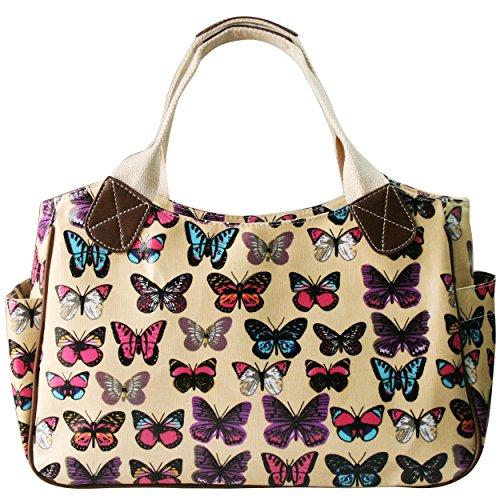Miss Lulu Handtasche, Einkaufstasche für Damen, Motiv:Blume,Eule,Punkte,Schmetterling, - Schmetterling Beige - Größe: Medium