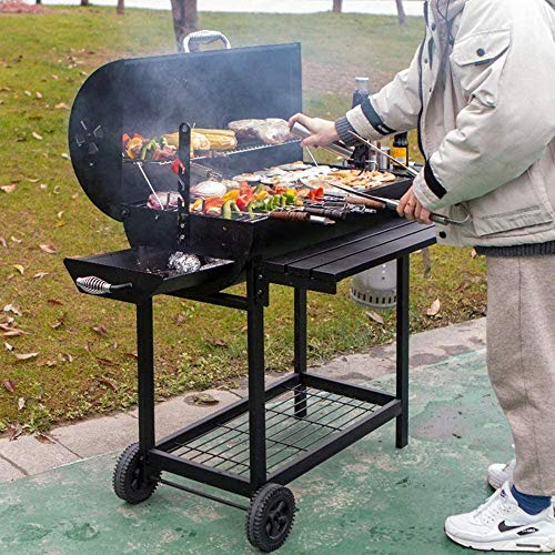 61SNDFqGnkL - Großräumige Barbecue Grill, beweglicher Grill Mit Rädern Hausgarten Bed and Breakfast Terrasse Grill Holzkohle Holzkohle Geschmorte Large Size mehr als 5 Personen Garten BBQ