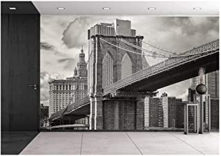 wall26 - The Brooklyn Bridge and The Lower Manhattan Skyline in New York City - Removable Wall Mural | Self-Adhesive Large Wallpaper - 100x144 inches