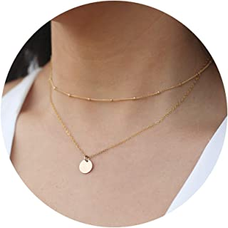 Dainty Layered Choker Necklaces Handmade Coin Tube Star Pearl Pendant Multilayer..