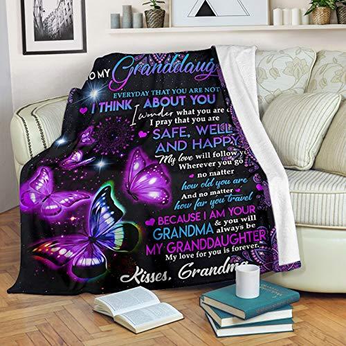 Corlidea Manta de forro polar con estampado de mariposas de Acción de Gracias con letras impresas para papá y mamá para el correo aéreo de la hija, manta de franela para regalo