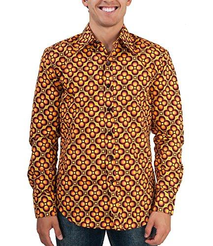 Chenaski Camicia floreale retrò anni '70 marrone arancione marrone/arancione XXL