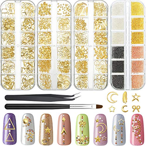 48 Grids 3D Metal Nails Supply Studs Micro Caviar Beads Gold Nail Art Decoration Metal Star Moon Heart Triangle Square Rivet Jewels with Curved Tweezers Nail Brush for Fingernails Toenails Decor