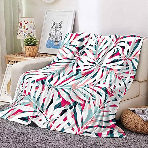 KLily Manta de flores y flores, franela de doble cara, sofá para el hogar, dormitorio, manta de aire acondicionado, impresión digital, material lavable