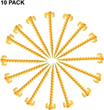 I LOVE EF IFECCO Camping Tent Stakes Canopy Stakes 10 Pack Screw Shape Heavy Duty Ground AnchorBeach Tent Stakes/Garden Stakes/Sand Stakes, 20 4.5cm- Yellow