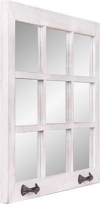 24x36 Distressed White Windowpane Wall Accent Mirror