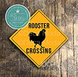 Deca Moda Rooster Crossing Sign, Rooster Crossing Signs, Indoor or Outdoor Use, Composite Aluminum Sign