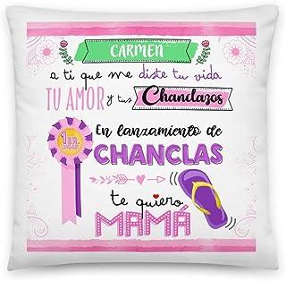 Kembilove Cojin Mejor Mama Personalizado con Nombre – Regalos Dia de la Madre Personalizados – Regalos Originales para cumpleaños – Cojines Originales En Lanzamiento de Chanclas Mamá