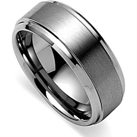 King Will Basic Men's Tungsten Carbide Ring 6mm/7mm/8mm Polished Beveled Edge Matte Brushed Finish Center Wedding Band…