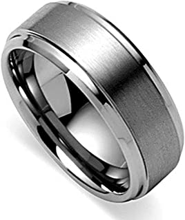 Basic Men's Tungsten Carbide Ring 8mm Polished Beveled Edge Matte Brushed Finish Center Wedding Band