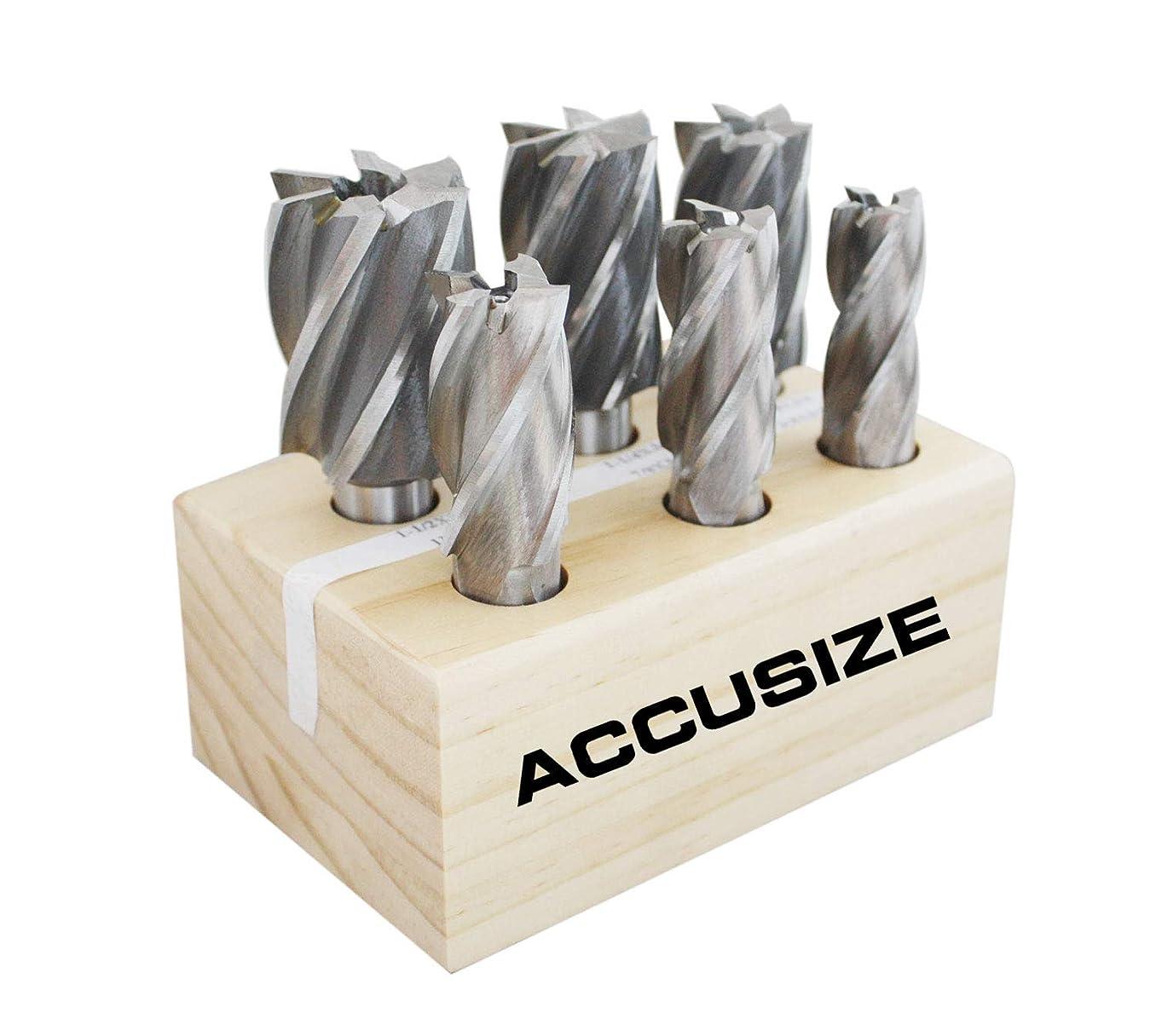 AccusizeTools - 6 Pcs H.S.S. End Mills Set, Multi Flute (3/4'' to 1-1/2''), Ground, 1822-0206