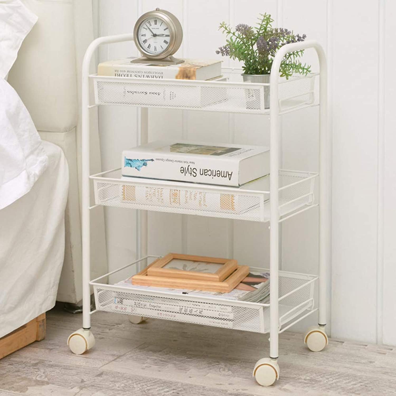 Bar cart,3 Storage Shelves Rolling Wood Kitchen Trolley cart,Small Household Kitchen Racks Nordic ktv Serving cart-White 45x27x63cm(18x11x25inch)